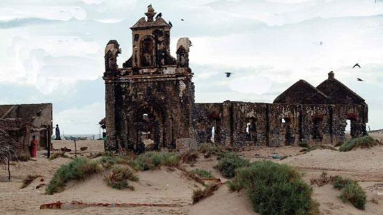 Ruins of a church at Dhanushkodi